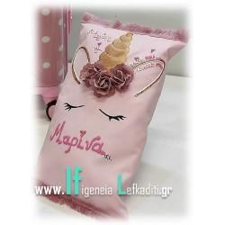 Σετ δώρου για κορίτσια «Βαλίτσα Ροζ Πουά με χειροποίητο διακοσμητικό μαξιλάρι unicorn