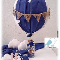 Διακοσμητικό βάπτισης Αερόστατο μπλε- λευκό 70cm