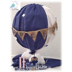 Διακοσμητικό βάπτισης Αερόστατο μπλε- λευκό 80cm