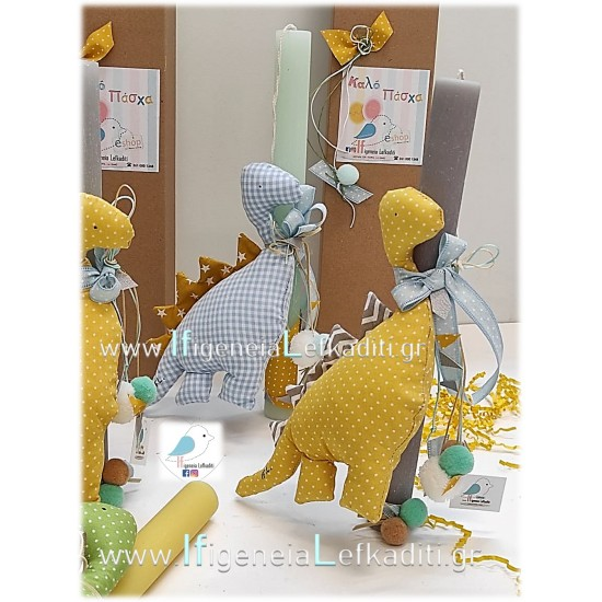 """Λαμπάδα για αγόρια """"Δεινόσαυρος σιέλ"""" με όνομα παιδιού"""