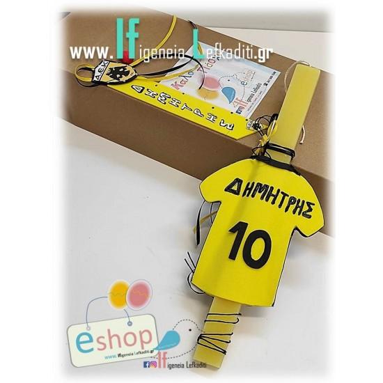 Χειροποίητη λαμπάδα για αγόρια ποδόσφαιρο -φανέλα ΑΕΚ με όνομα και νούμερο