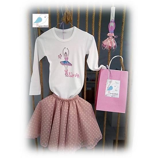 ΣΕΤ Πασχαλινή λαμπάδα μπαλαρίνα, μπλούζα και φούστα