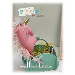 """Λαμπάδα για κορίτσι με χειροποίητο κίτρινο αλογάκι """"Unicorn Μονόκερο"""""""