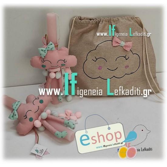 Λαμπάδα για κοριτσάκια «Πρώτη λαμπάδα» συννεφάκι ροζ
