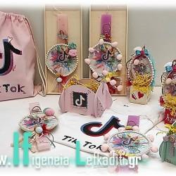 Χειροποίητη λαμπάδα για κορίτσια Τικ Τοκ ροζ