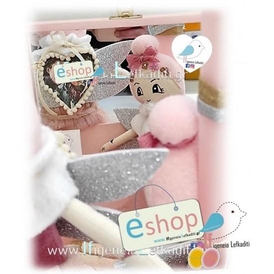 Λαμπάδα για κορίτσια με Χειροποίητη κούκλα, ευχές, φωτογραφία και όνομα