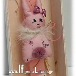 Λαμπάδα για κορίτσια κουνελάκι ροζ με πρόσωπο και όνομα