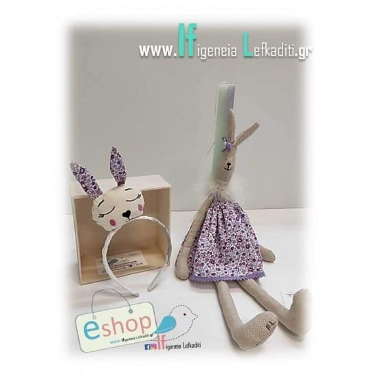 Λαμπάδα για κορίτσια με χειροποίητη κούκλα «Λαγουδίνα φλοράλ 50εκ.»