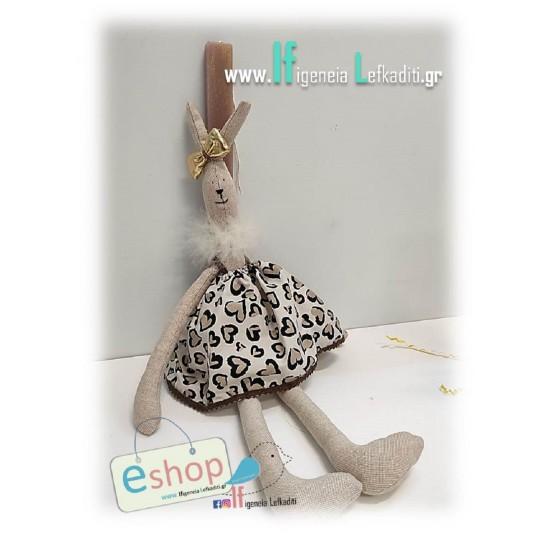 Λαμπάδα κορίτσι με χειροποίητη κούκλα «Λαγουδίνα καρδούλα 50εκ.»