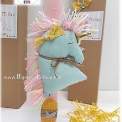 """Χειροποίητη πασχαλινή λαμπάδα για κορίτσι """"Μονόκερος Unicorn"""" βεραμάν"""