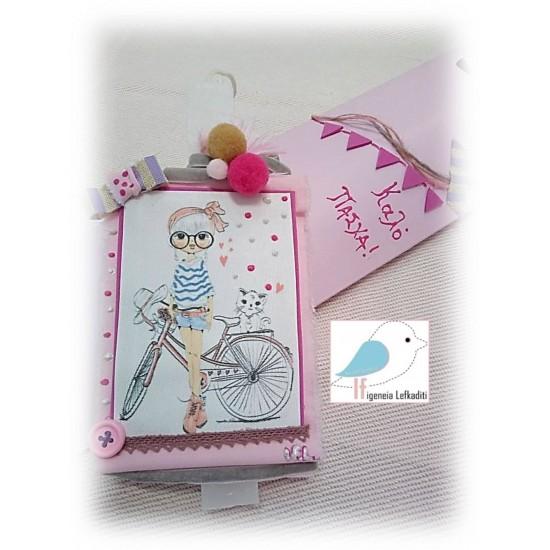 Πασχαλινή λαμπάδα κρεμαστό καδράκι κορίτσι- ποδήλατο