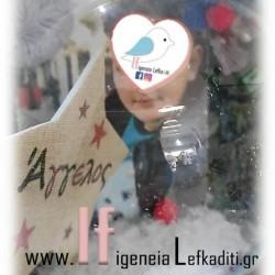Χριστουγεννιάτικο δώρο χιονόμπαλα με φωτογραφία και ευχές!