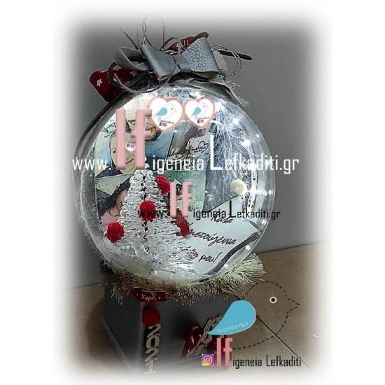 Χιονόμπαλα με led φωτισμό, προσωπική φωτογραφία και ευχές!