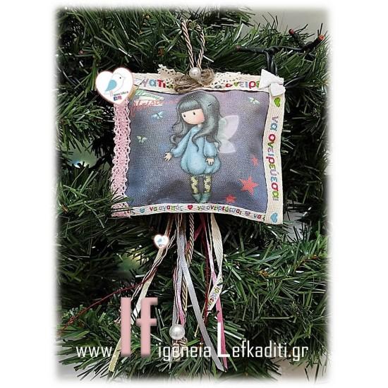 Χριστουγεννιάτικο κρεμαστό μαξιλαράκι ΣΑΝΤΟΡΟ με όνομα παιδιού