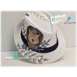 Ζωγραφιστό παιδικό καπέλο «Λιονταράκι κορώνα» με όνομα παιδιού