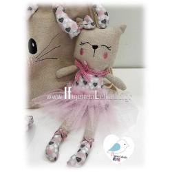 Χειροποίητη υφασμάτινη κούκλα Γατούλα μπαλαρίνα ροζ