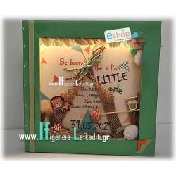 Φωτιζόμενο Κάδρο με στοιχεία γέννησης και ευχή για αγόρι με θέμα τα «Ζωάκια του Δάσους»