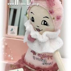 Χειροποίητη υφασμάτινη κούκλα ροζ με ευχή