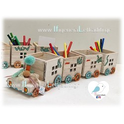 Ξύλινο Τρένο μολυβοθήκη με όνομα παιδιού