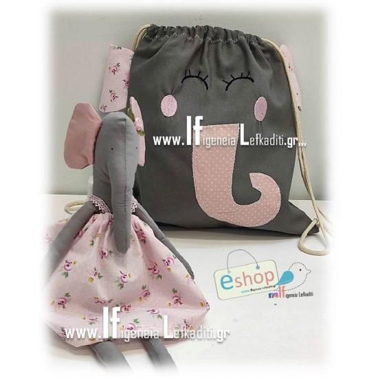 Χειροποίητη υφασμάτινη κούκλα Ελεφαντίνα σε απόχρωση ροζ -γκρι