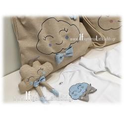 Δώρο για νεογέννητο αγόρι «Σετ συννεφάκι σιέλ»
