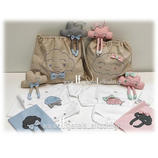 Δώρο για νεογέννητο κορίτσι «Σετ συννεφάκι ροζ»