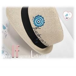 Χειροποίητο ανδρικό ψάθινο καπέλο μάτι με όνομα