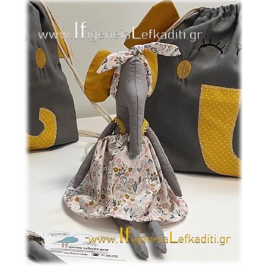Χειροποίητη υφασμάτινη κούκλα Ελεφαντίνα σε απόχρωση ταμπά - γκρι