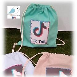 Χειροποίητο υφασμάτινο σακίδιο TIK-TOK