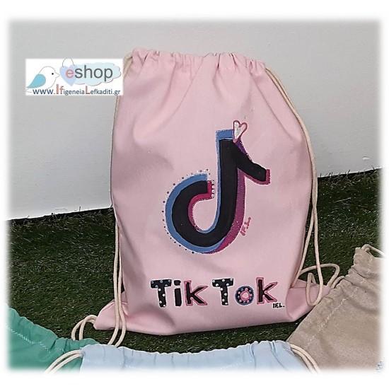 Χειροποίητο ζωγραφιστό σακίδιο TIK-TOK