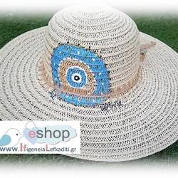 Χειροποίητο ψάθινο ζωγραφιστό καπέλο ΜΠΛΕ ΜΑΤΙ