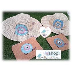 Ψάθινο καπέλο ζωγραφισμένο ΜΑΤΙ και πορτοφόλι από φελλό