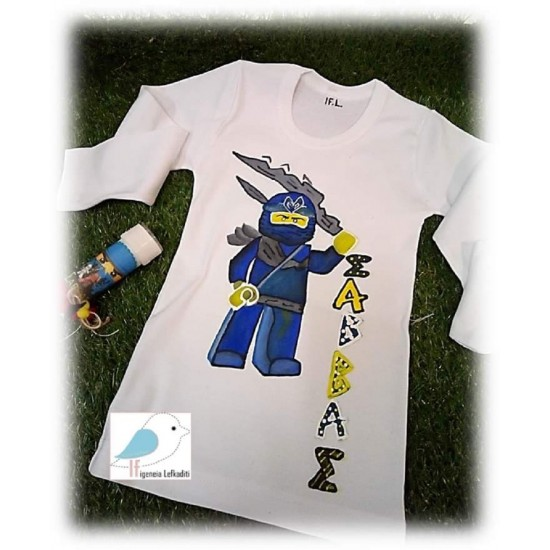 Ζωγραφιστό μπλουζάκι και σαπουνόφουσκα leggo ninjago