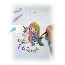 Ζωγραφιστή μπλούζα Μονόκερος-Γοργόνα