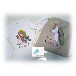 ΣΕΤ Ζωγραφιστό μπλουζάκι Μονόκερος- Γοργόνα με σακίδιο