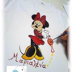 Χειροποίητο ζωγραφιστό μπλουζάκι «MINI» με όνομα