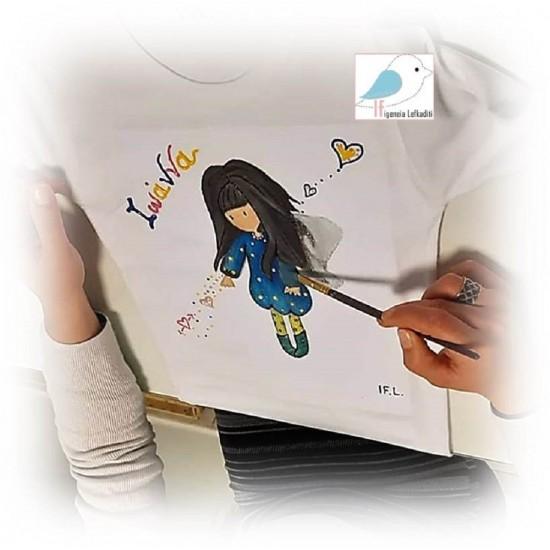 Χειροποίητο ζωγραφιστό μπλουζάκι «ΣΑΝΤΟΡΟ»