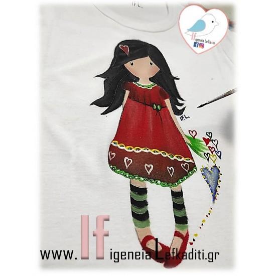 Χειροποίητο ζωγραφιστό μπλουζάκι ΣΑΝΤΟΡΟ κόκκινο φόρεμα