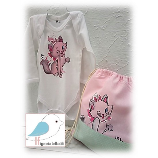 ΣΕΤ Ζωγραφιστό μπλουζάκι και σακίδιο «Γατούλά»