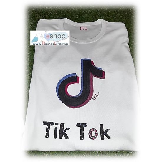 Χειροποίητο Ζωγραφιστό μπλουζάκι TIK- TOK