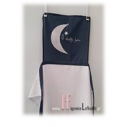 Χειροποίητη ζωγραφισμένη ποδιά βάπτισης « Αστέρι – Φεγγάρι»