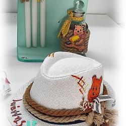 Παιδικό καπέλο βάπτισης boho Winnie - Γουίνι το Αρκουδάκι