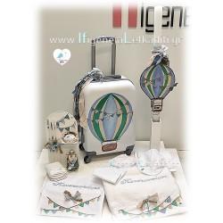 Σετ βάπτισης Αερόστατο - Ταξίδια με βαλίτσα ζωγραφισμένη στο χέρι
