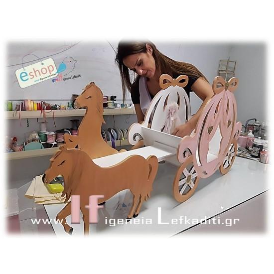 """Χειροποίητη ξύλινη πριγκιπική """"Άμαξα με άλογα"""""""