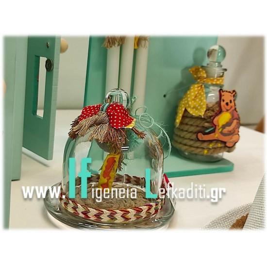 Σετ βάπτισης «boho Winnie - Γουίνι το Αρκουδάκι» με όνομα παιδιού και Ξύλινο Κάστρο Φωτιζόμενο