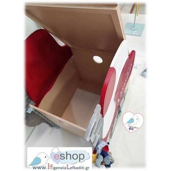 Σετ βάπτισης «στρουμφάκια» με ξύλινο κουτί «στρουμφόσπιτο-μανιταρόσπιτο»