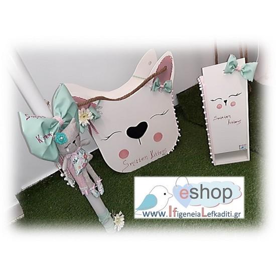 Ολοκληρωμένο χειροποίητο σετ βάπτισης κουτί-τσάντα Smitten Kittens (μικρή γάτα)