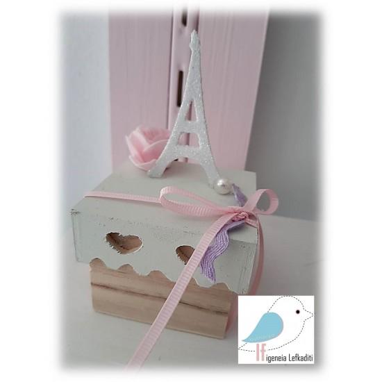 """Κουτί μπομπονιέρα ζωγραφισμένο με χειροποίητο """"ΠΥΡΓΟ"""""""