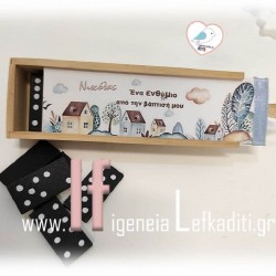 Ξύλινο παιχνίδι DOMINO με ετικέτα ΑΕΡΟΠΛΑΝΟ-ΤΑΞΙΔΙΑ