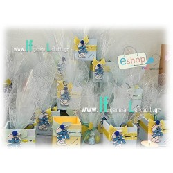 Ξύλινη μπομπονιέρα βάπτισης Στρουμφάκι σιελ - κίτρινο